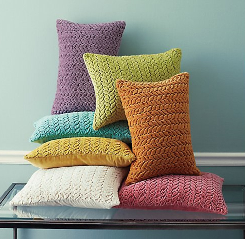 Braided Velvet Pillow in Lake