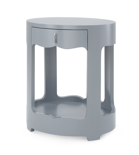 Brigitte One Drawer Side Table in Gray