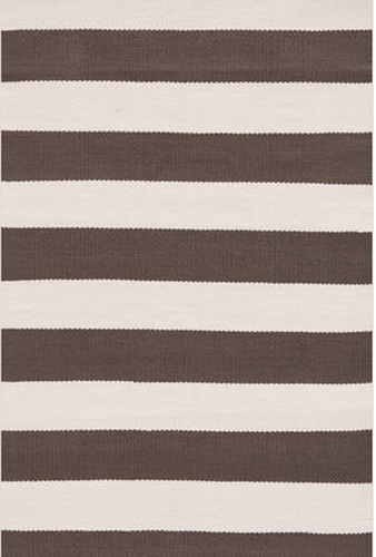 Dash and Albert Catamaran Stripe Charcoal and Ivory Indoor/Outdoor Rug