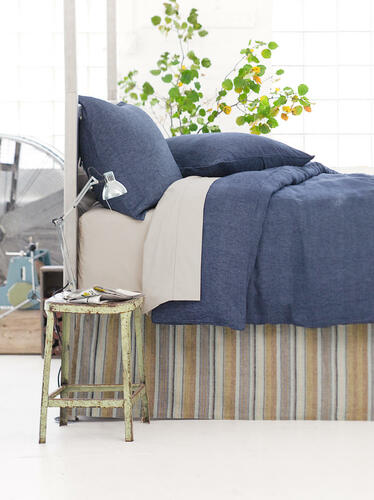 Chambray Linen Duvet Cover Ink/Navy