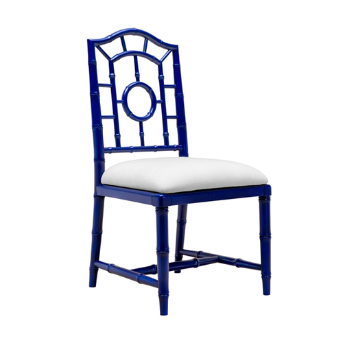 Chloe Lacquered Side Chair in Blue