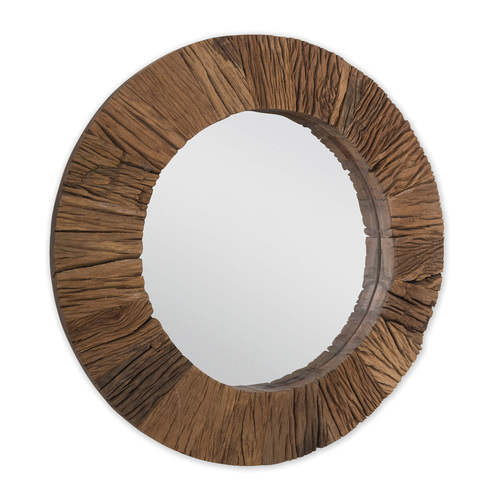 Convex Reclaimed Wood Mirror