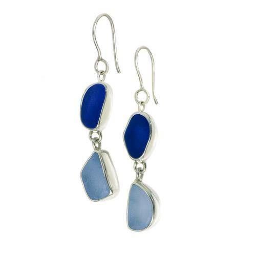 Double Drop Earrings in Blue French Wire