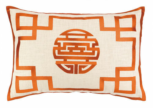 Double Happiness Tangerine Embroidered Pillow<font color=CF2317>Discontinued</font>