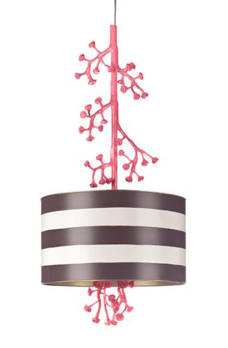 Drum Pendant Light with Mini Roses