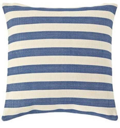 Dash and Albert Trimaran Stripe Denim/Ivory Indoor/Outdoor Pillow