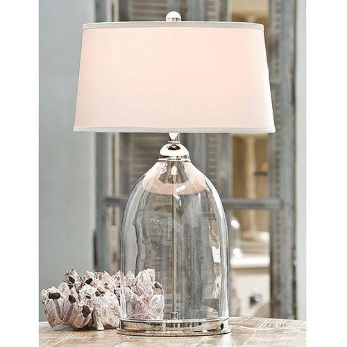 Glass & Polished Nickel Dome Lamp