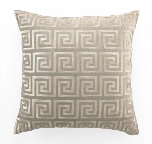 Greek Key Grey Embroidered Velvet Pillow