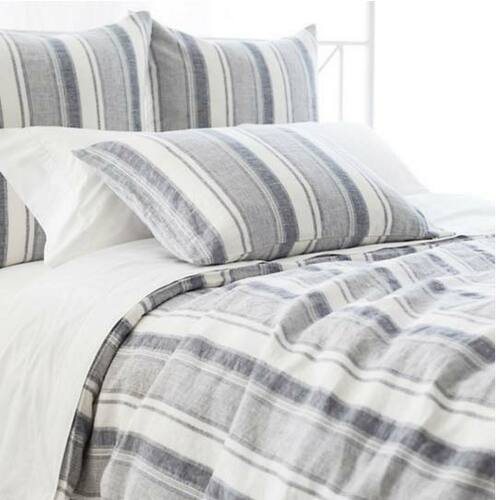 Hampton Ticking Linen Indigo Duvet Cover