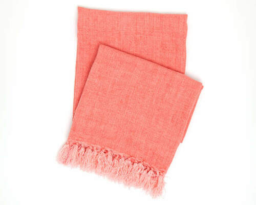 Laundered Linen Coral Throw<font color=cf2317> 20% Off</font>