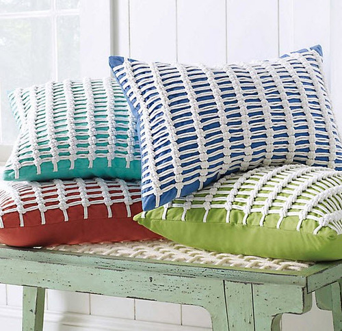 Macrame Pillow in Aqua