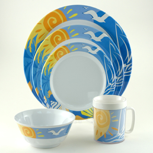 Ocean Breeze Melamine Dinnerware Collection with Platter