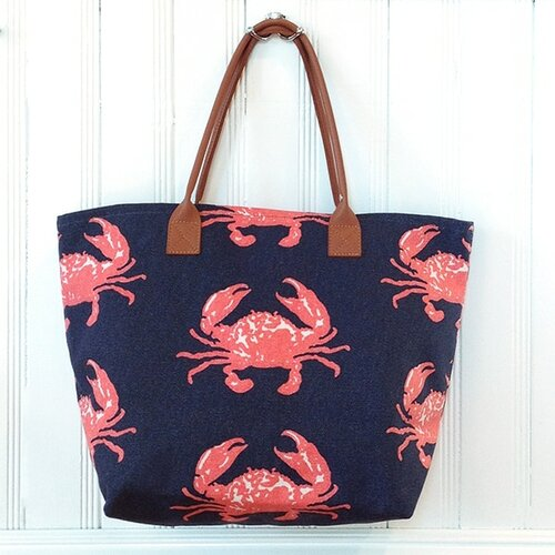 Crab Beach Tote in Navy & Red
