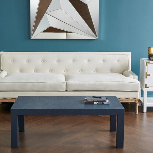 Parsons Grasscloth Coffee Table in Blue