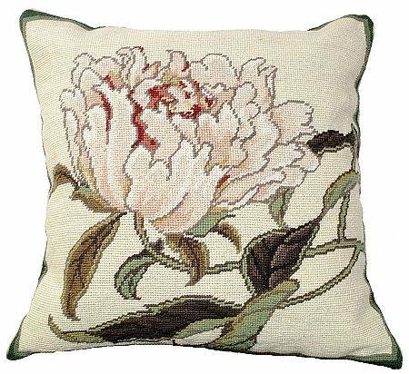 Peonies Needlepoint Pillow
