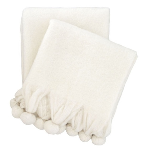 Pom Pom Ivory Throw<font color=cf2317> 20% Off</font>