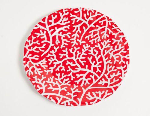 Red Coral Melamine Dinner Set with Platter