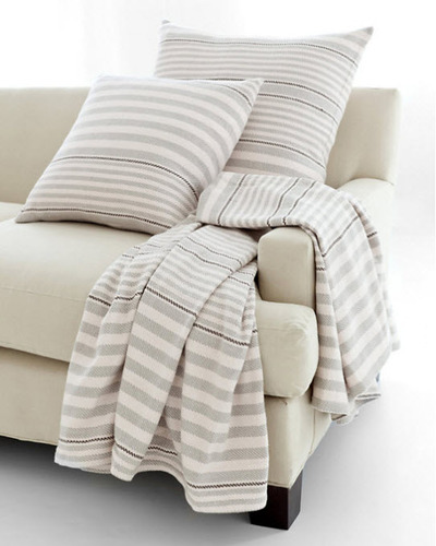 Rugby Stripe Platinum Woven Cotton Throw<font color=cf2317> 20% Off</font>