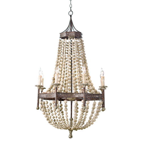 Scalloped Wood Bead Chandelier