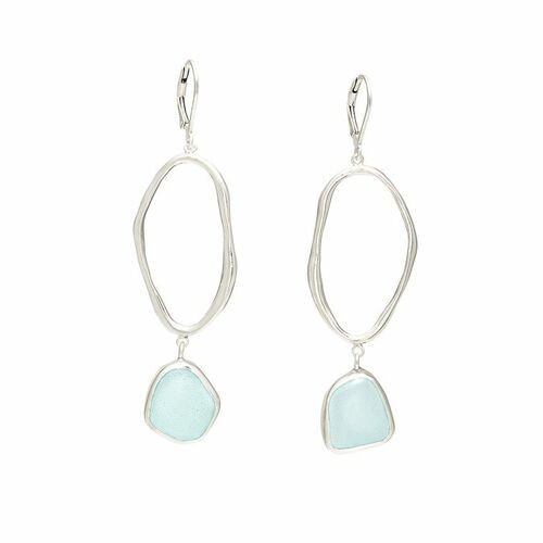Sea Glass Earrings with Lagoon loop