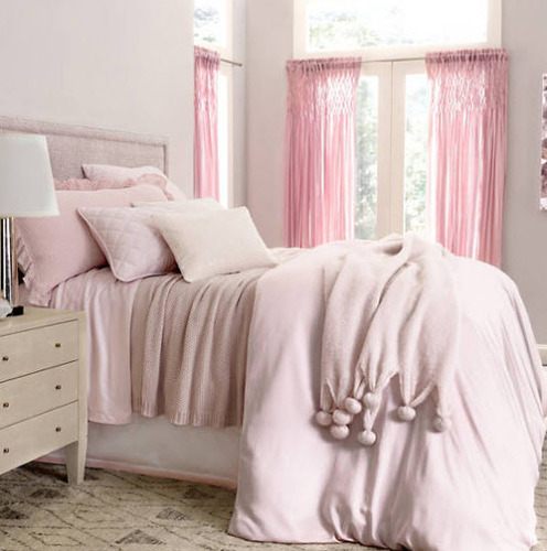 Silken Solid Duvet Cover Pink
