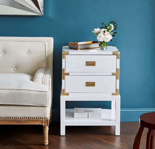 Tansu Two-Drawer Side Table - White