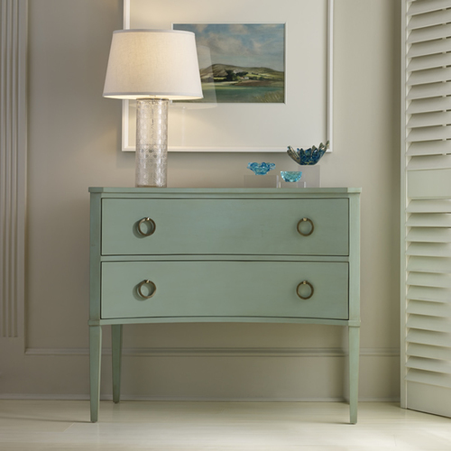 Transitional Two Drawer Concave Side Chest For Sale