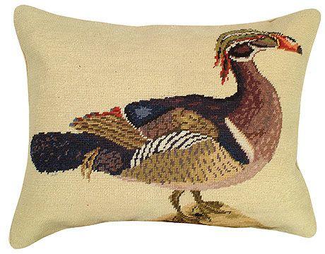 Wood Duck Needlepoint Pillow