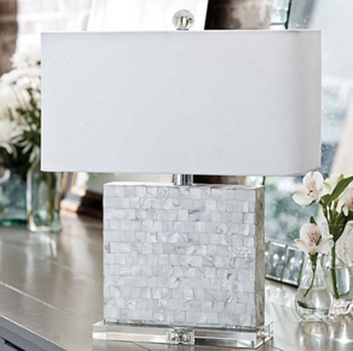 Bliss Mother of Pearl Lamp with Crystal Base