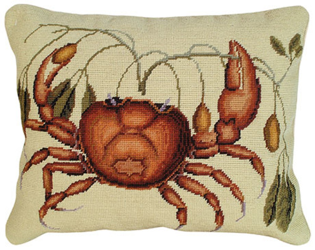 Crab Needlepoint Pillow