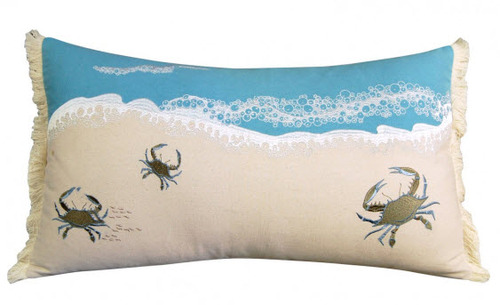 Crabs in Waves Embroidered Lumbar Pillow