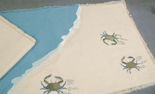 Embroidered Blue Crab Table Linens