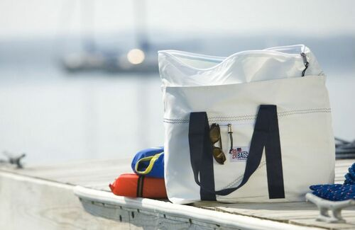 Newport Sailcloth Large Tote with Blue or Red Trim