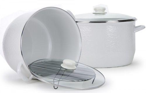Large White Enamelware 18 Quart Stock Pot For Sale