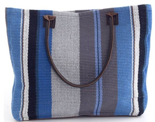Midnight Stripe Woven Cotton Tote
