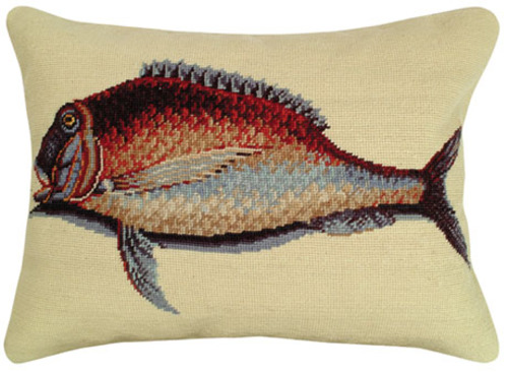 Mutton Fish Needlepoint Pillow