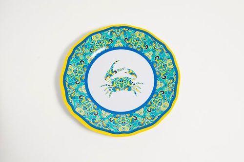 Paisley Crab Melamine Dinner Set with Platter