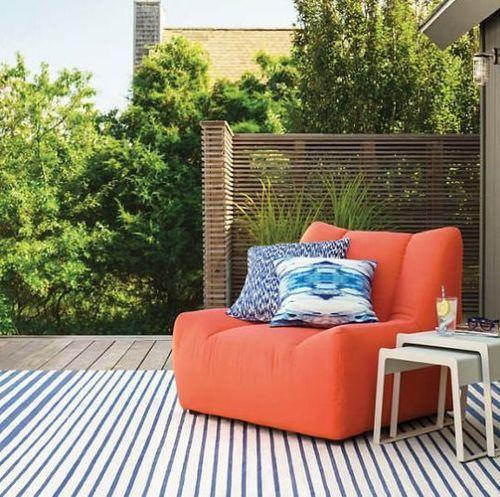 Port Stripe Denim Indoor/Outdoor Rug
