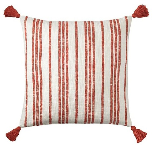 Red Stripe Cotton Pillow