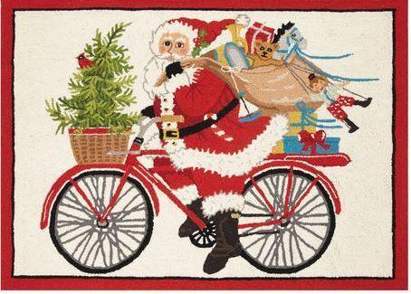 Santa on Bike Indoor Christmas Doormat