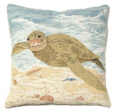 Sea Turtle Needlepoint Pillow