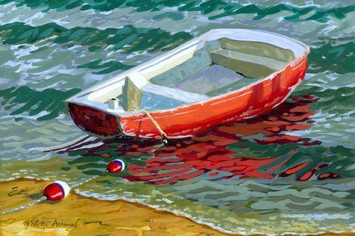 The Red Skiff Beach Print