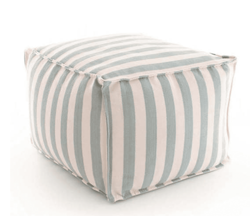 Trimaran Stripe Light Blue/Ivory Indoor/Outdoor Pouf