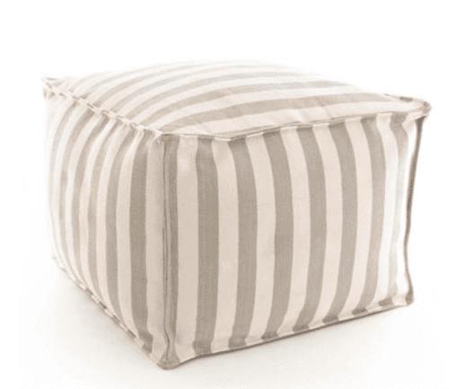 Trimaran Stripe Platinum/Ivory Indoor/Outdoor Pouf