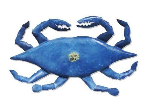 Uncooked Crab Metal Beach Art
