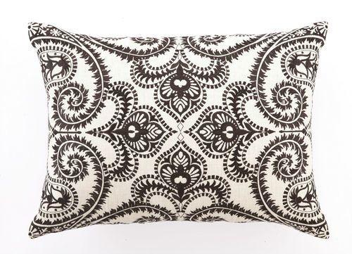 Amalfi Chocolate Embroidered Linen Pillow
