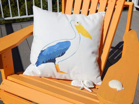 Blue Pelican Handpainted Outdoor Pillow