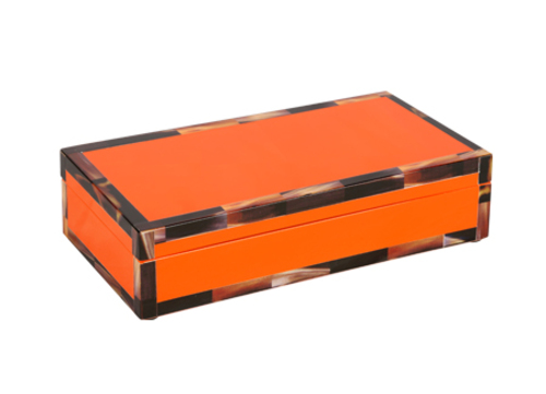 Cheval Lacquered Rectangle Box with Faux Horn Border