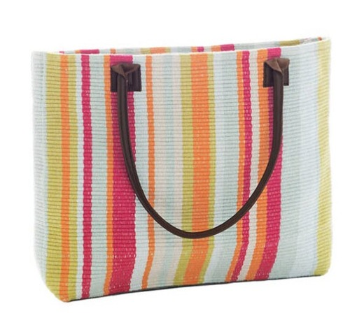 Clara Stripe Woven Cotton Beach Tote