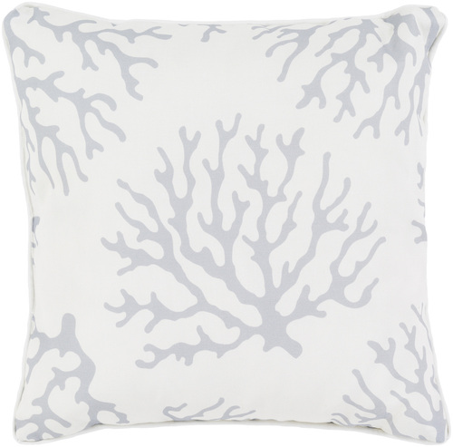Coral Outdoor Pillow in Light Gray